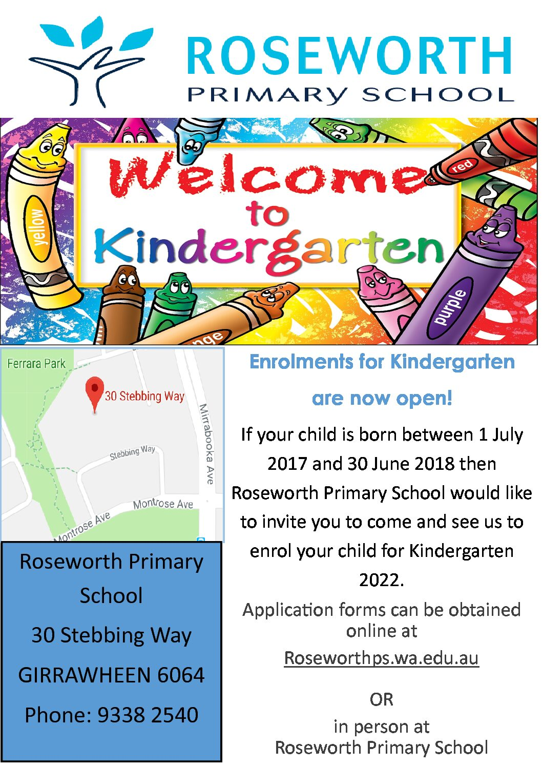 Kindergarten 2022 Enrolments are now open!